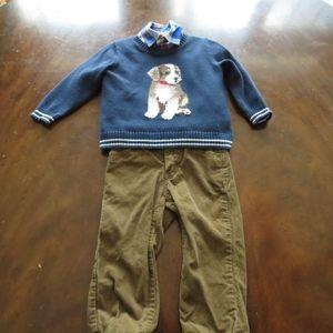 Janie & Jack 18-24m 3pc boys cords sweater shirt